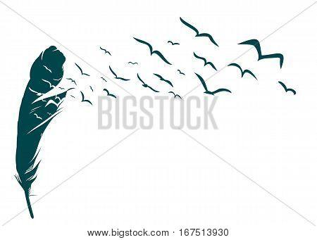 Flight flock of birds from bird feather.