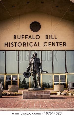 Cody Wyoming - 3 Feb. 2008: Statue of Buffalo Bill in front of the historical center named after him