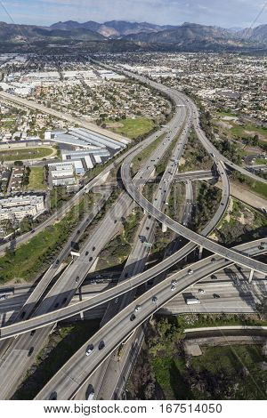 Aerial of the Golden State 5 and 118 freeway interchange in the San Fernando Valley area of Los Angeles California.
