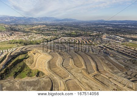 Aerial view of new neighborhood construction in the Porter Ranch community of Los Angeles California.