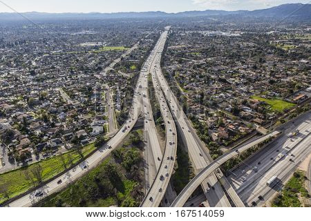 The 118 freeway crossing the San Fernando Valley in Los Angeles California.