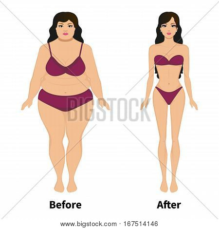 Vector illustration of a woman before and after weight loss. Female slimming. Isolated on white background. Comparison of obese and lean human. Fat and thin girl in underwear.