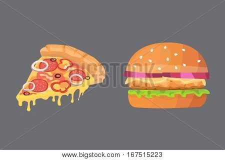 Vector illustration of various fast food. Cartoon pizza and burger