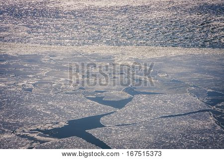 Cracked ice on a frozen lake in Wyoming