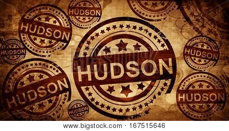 hudson, vintage stamp on paper background