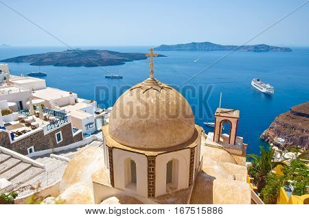 Dome Of The Orthodox Church During The Midday In Fira On The Island Of Thera (santorini) Greece.