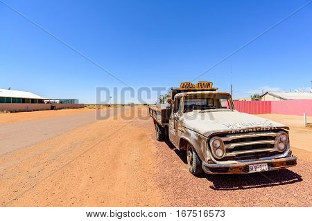 OODNADATTA AUSTRALIA - OCTOBER 24 2016: An abandoned wrecked truck at Oodnadatta the start of the Oodnadatta Track Outback South Australia Australia.