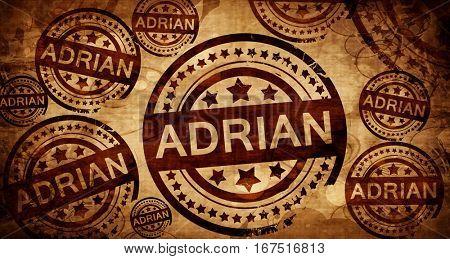 adrian, vintage stamp on paper background