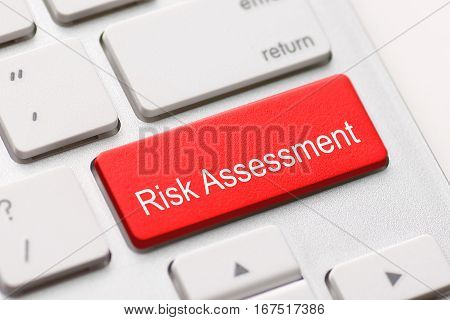 risk assess assessment project market keyboard button keypad caution issue critical solving concept - stock image