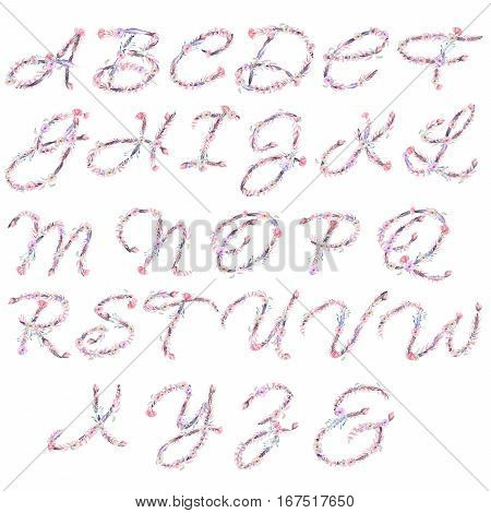 English alphabet of watercolor pink and purple flowers, isolated hand drawn on a white background, wedding design, english capital letters for the festive and wedding decor and cards
