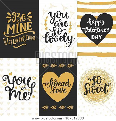 Happy Valentines Day typography set with hand drawn lettering. Vector calligraphy for greeting cards, posters and planner stickers. So Sweet, You and Me, Spread Love, You are So Lovely, Be Mine