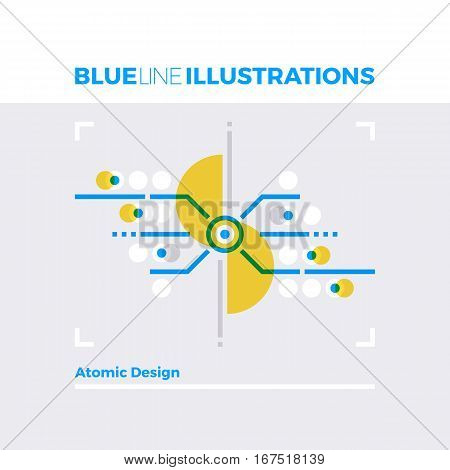 Atomic Design Blue Line Illustration.