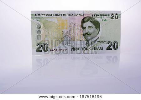 Turksh Lira Banknotes Of 20  On White Background