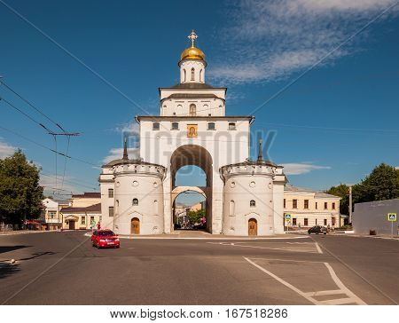 VLADIMIR RUSSIA - JUNE 7 2015: The Golden Gate of Vladimir constructed between 1158 and 1164 Russia. Golden Ring of Russia.