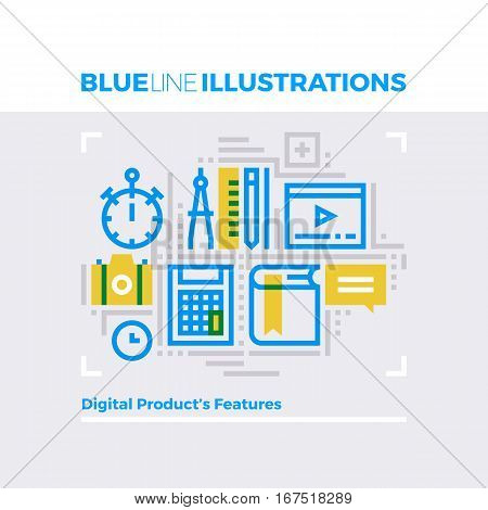 Content Features Blue Line Illustration