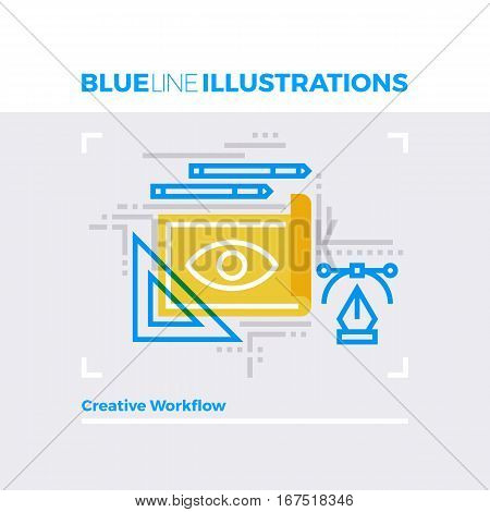 Creative Workflow Blue Line Illustration.