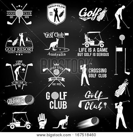 Set of Golf club concept with golfer silhouette and design elements. Vector golfing club retro badge on the chalkboard. Concept for shirt, print, seal or stamp. Typography design.