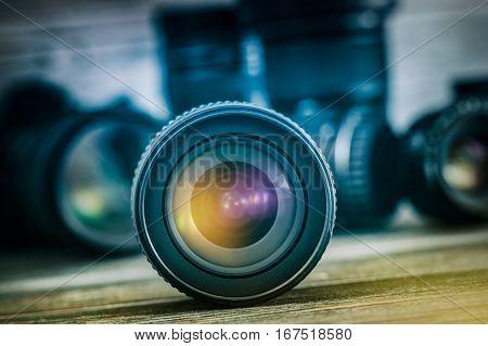 Professional Photography Lens Equipment Photographer Work Photo Lenses - Stock Image