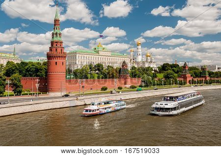 MOSCOW RUSSIA - JUNE 12 2015: View of the Moscow river and Moscow Kremlin. Popular tourist view of the main attraction of Moscow. Russia