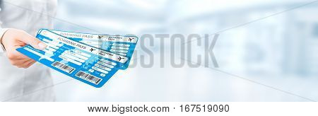 travel ticket air business pass hand destination fly document gate code departure tour abroad tourist airplane passenger focus background space empty concept - stock image