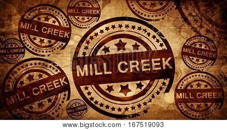 mill creek, vintage stamp on paper background