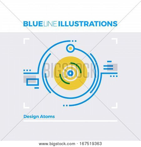 Design Atoms Blue Line Illustration.