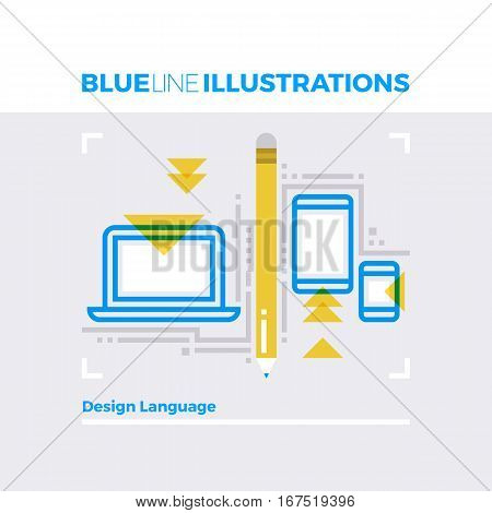 Design Language Blue Line Illustration.