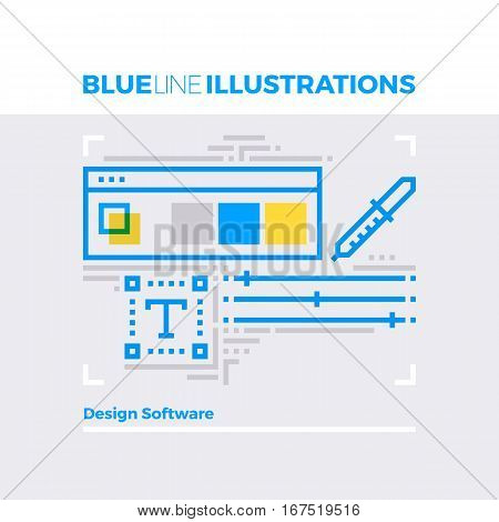 Design Software Blue Line Illustration.