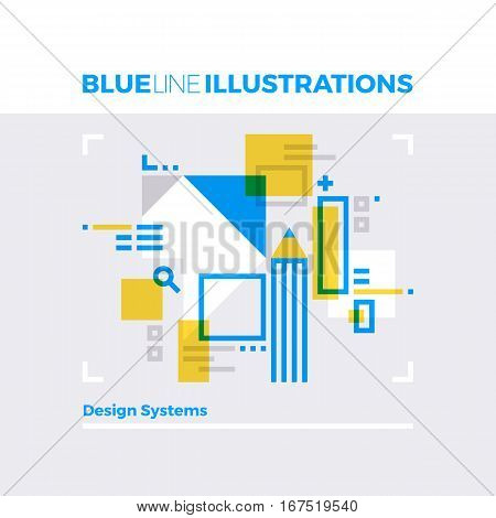 Design Systems Blue Line Illustration.
