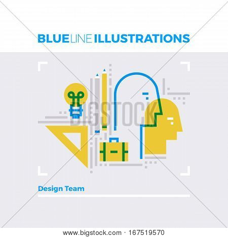 Design Team Blue Line Illustration