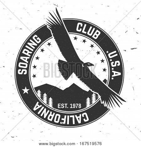 Vector Gliding club retro badge. Concept for shirt, print, seal, overlay or stamp. Typography design- stock vector. Soaring club design with condor silhouette.