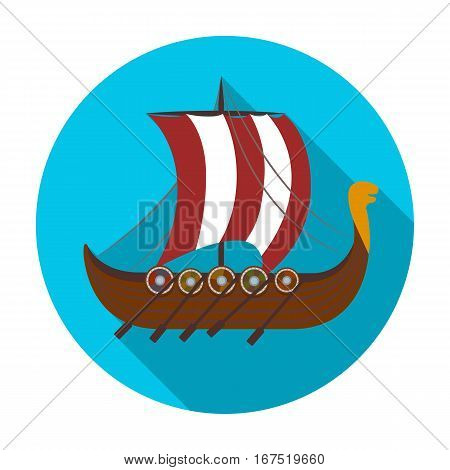Viking s ship icon in flat design isolated on white background. Vikings symbol stock vector illustration.