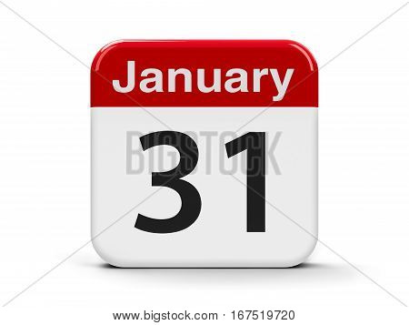 Calendar web button - The Thirty First of January three-dimensional rendering 3D illustration