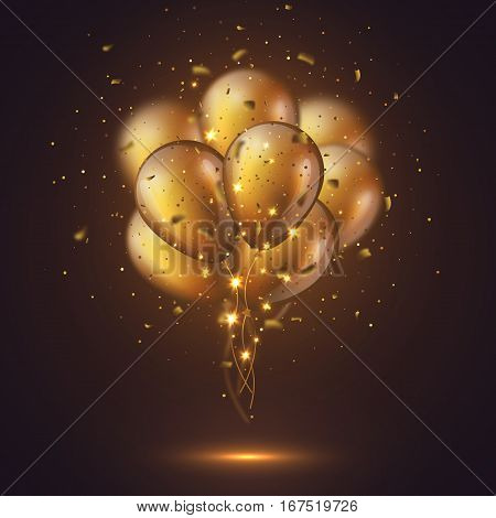 Realistic 3D glossy golden ballons with confetti and glowing lights. Decorative element for party invitation design blur effect. Vector illustration.