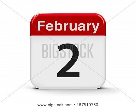 Calendar web button - The Second of February - Groundhog Day and World Wetlands Day three-dimensional rendering 3D illustration