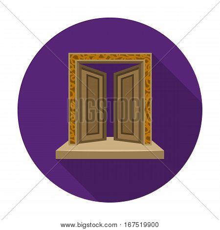 Gates to Valhalla icon in flat design isolated on white background. Vikings symbol stock vector illustration.