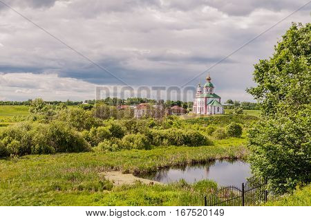 View of the Church of Elijah the Prophet in Suzdal Russia. Golden Ring of Russia.