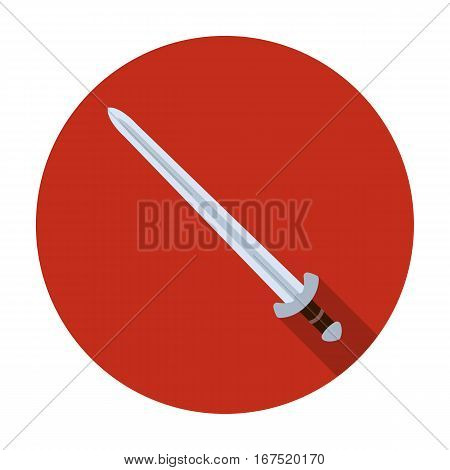 Viking sword icon in flat design isolated on white background. Vikings symbol stock vector illustration.