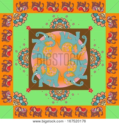 India. Lovely tablecloth or quilt. Ethnic bandana print with ornamental border. Silk neck scarf with flowers and elephants. Summer kerchief square pattern design style for print on fabric.