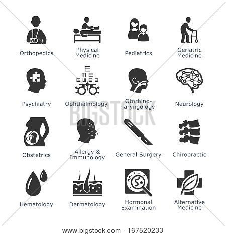 Medical Specialties Icons Set 1 - Black Version