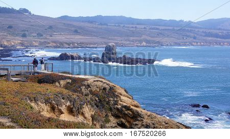BIG SUR, CALIFORNIA, UNITED STATES - OCT 7, 2014: Cliffs at Pacific Coast Highway Scenic view between Monterey and Pismo Beach in CA along Highway No 1, USA.