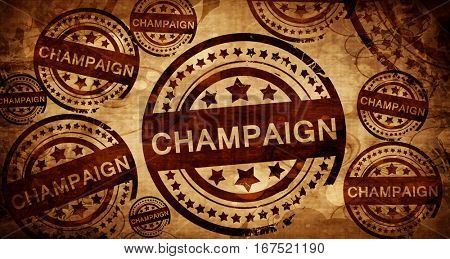 champaign, vintage stamp on paper background