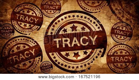 tracy, vintage stamp on paper background