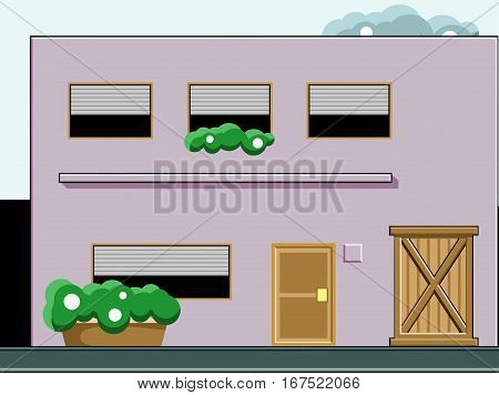 A house of 2 floors with trees on the front and clouds in the sky. Vector flat illustration.