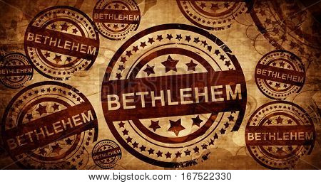 bethlehem, vintage stamp on paper background