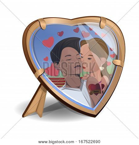 Photo kissing couple in the frame in the shape of heart. Photo frame heart-shaped. Girl and boy kissing. Loving couple. Vector illustration