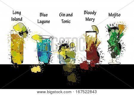 Vector illustration of Cocktail set with name. Template for cocktail menu. Alcohol, long island, blue lagune, gin and tonic, bloody mery, mojito . Summer drinks. Spray, spot watercolor effect