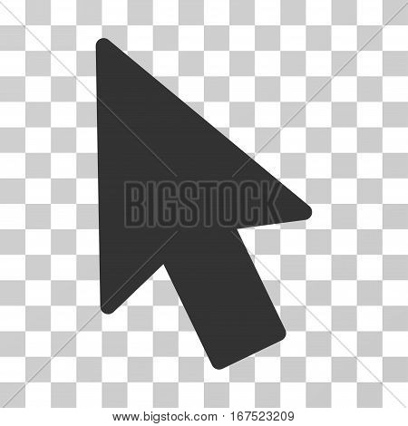 Mouse Pointer vector pictograph. Illustration style is flat iconic gray symbol on a transparent background.