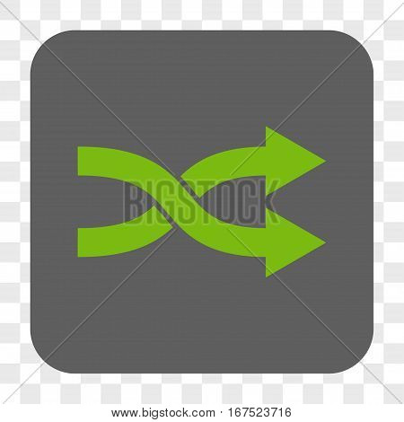 Shuffle Arrows Right interface toolbar button. Vector icon style is a flat symbol on a rounded square button light green and gray colors chess transparent background.