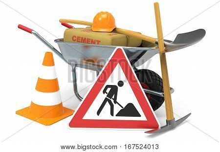 Wheelbarrow with cement shovel traffic sign traffic cone and safety helmet isolated on white background 3D rendering